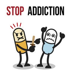 Stop addiction amphetamine conceptual vector