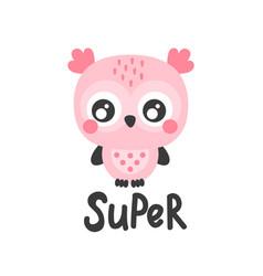 super pink owl vector image
