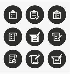survey icon set round button vector image