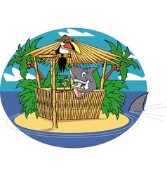 Tiki hut shark vector image