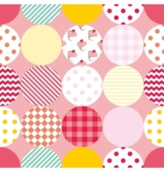 Tile patchwork pattern with polka dots on pastel vector