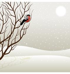 tree and bullfinch vector image