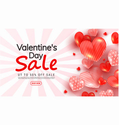 Valentines day discount banner with 3d love heart vector
