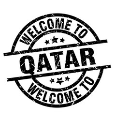 welcome to qatar black stamp vector image