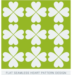 White seamless hearts on green background pattern vector