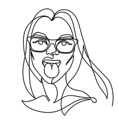 Woman in eyeglasses showing tongue one line art vector