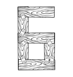 wooden number 6 engraving vector image