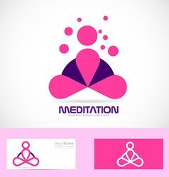 Meditation yoga zen pink logo vector image