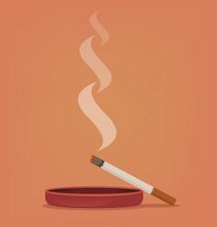 smoking cigarette ashtray vector image