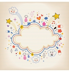 Star bursts cartoon cloud shape banner frame lined vector