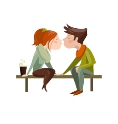 Young couple kissing on bench vector image