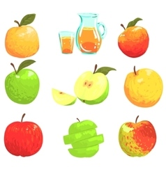Apples And Apple Juice Cool Style Bright vector image vector image