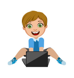 boy playing video games on lap top part of kids vector image vector image