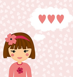 Pretty Girl Thinks about Love Heart Background vector image vector image