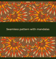 Seamless pattern with colored mandalas indian vector