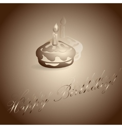 burning candle on the cake vector image