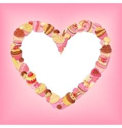 Desserts heart frame on pink background St vector image