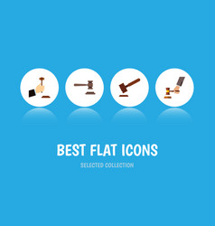 Flat icon lawyer set of justice crime law and vector