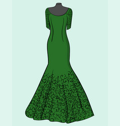 green dress with black lace on a blue background vector image vector image