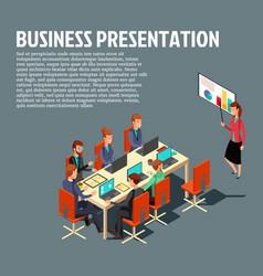 isometric business presentation meeting vector image