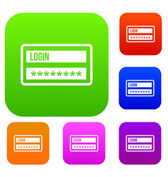 login and password set collection vector image