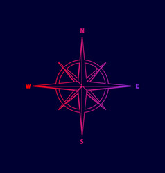 wind rose sign line icon with gradient vector image