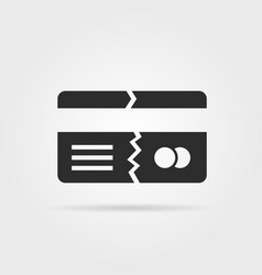 black broken credit card with shadow vector image