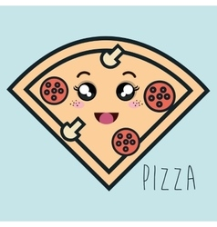 cartoon pizza facial expression isolated icon vector image