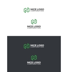 logo with a green letter n vector image vector image