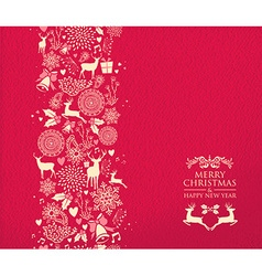 Merry christmas happy new year pattern deer red vector image
