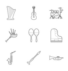 musical device icons set outline style vector image
