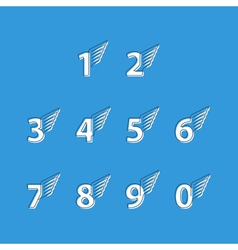 Numbers thin lines set of icons with wings vector image