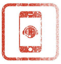 Smartphone operator contact head framed textured vector