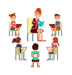 teacher reading book to children that sitting vector image
