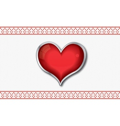 Valentine card with red glossy heart vector image vector image