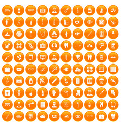 100 doctor icons set orange vector image
