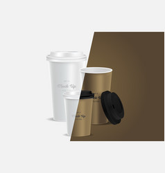 3 brown coffee cups mockup on background vector