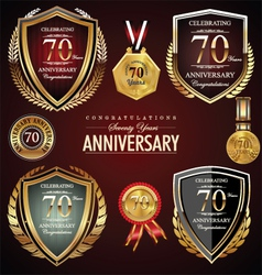 70 years anniversary labels vector image