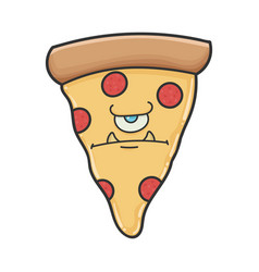 Angry monster slice pizza cartoon vector