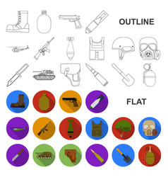 army and armament flat icons in set collection for vector image
