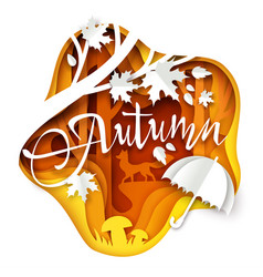 Autumn layered paper art style vector