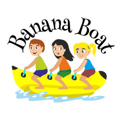Banana boat water extreme sports isolated design vector