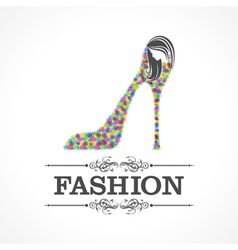 Beauty and fashion icon with shoe and face vector image
