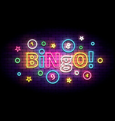 Bingo neon sign with lottery balls and stars vector