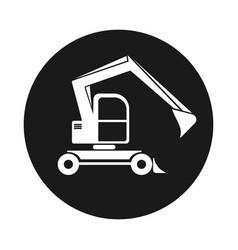 Black round web icon excavator with bucket vector