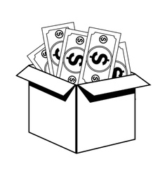 Box with bills icon vector