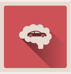Brain thinking in car on red background with shade vector