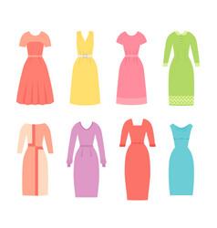 business dresses for women female textile flat vector image