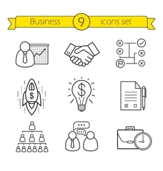 Business linear icons set vector image