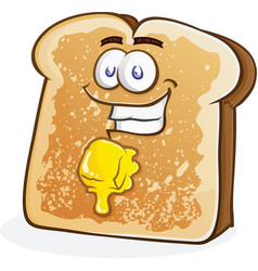 Buttered toast cartoon character vector